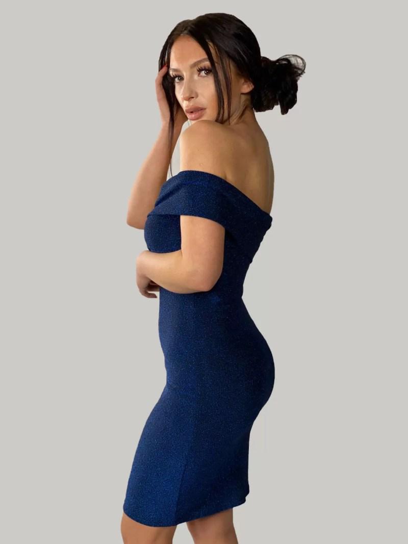 blauw-off-shoulder-jurk