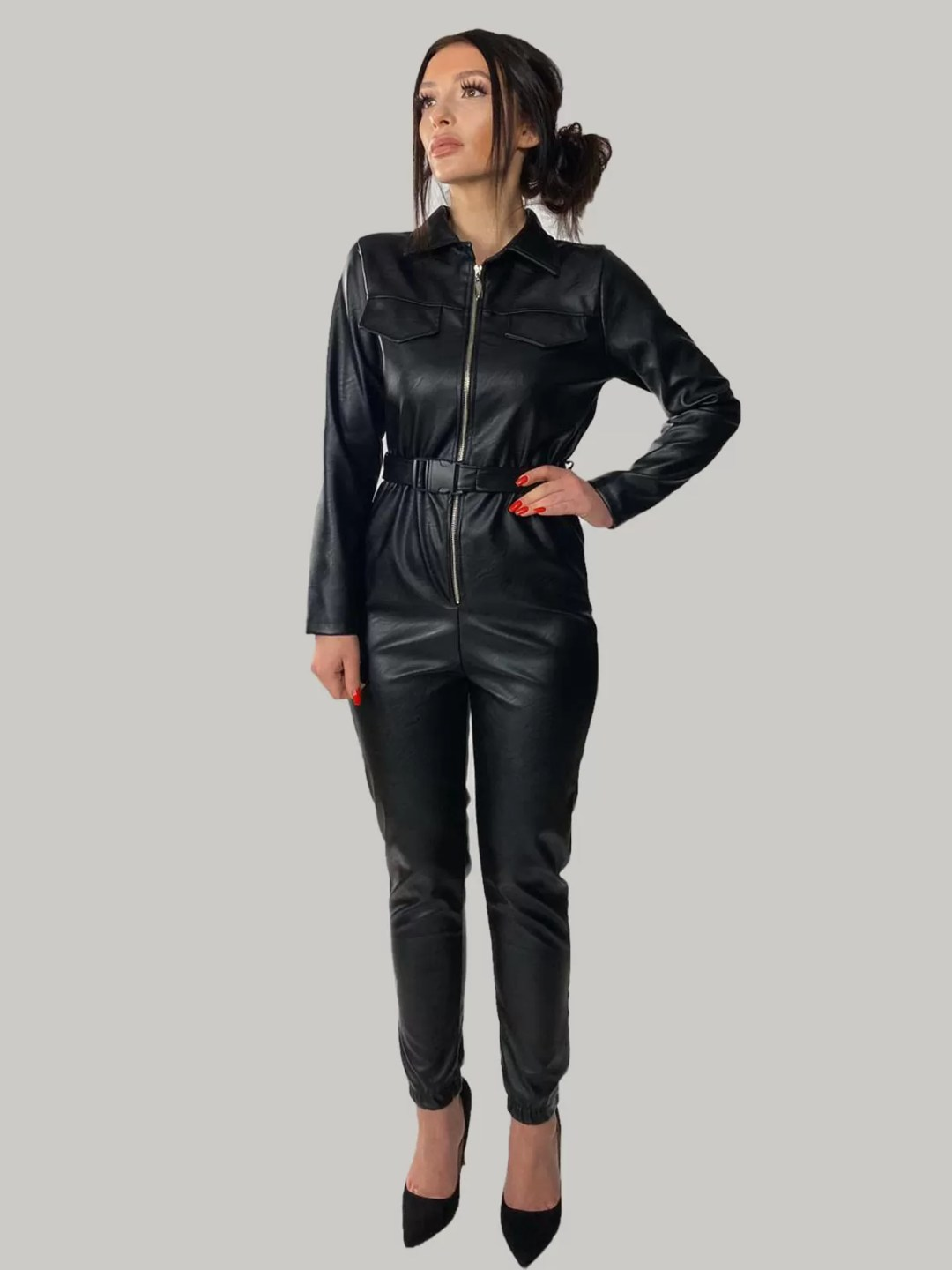 Lederlook-Jumpsuit