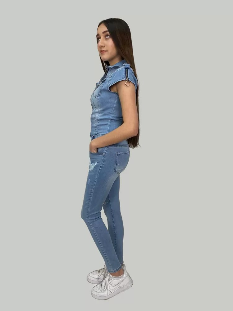 05 21 035 Blauw Spijker Jumpsuit Voor Dames