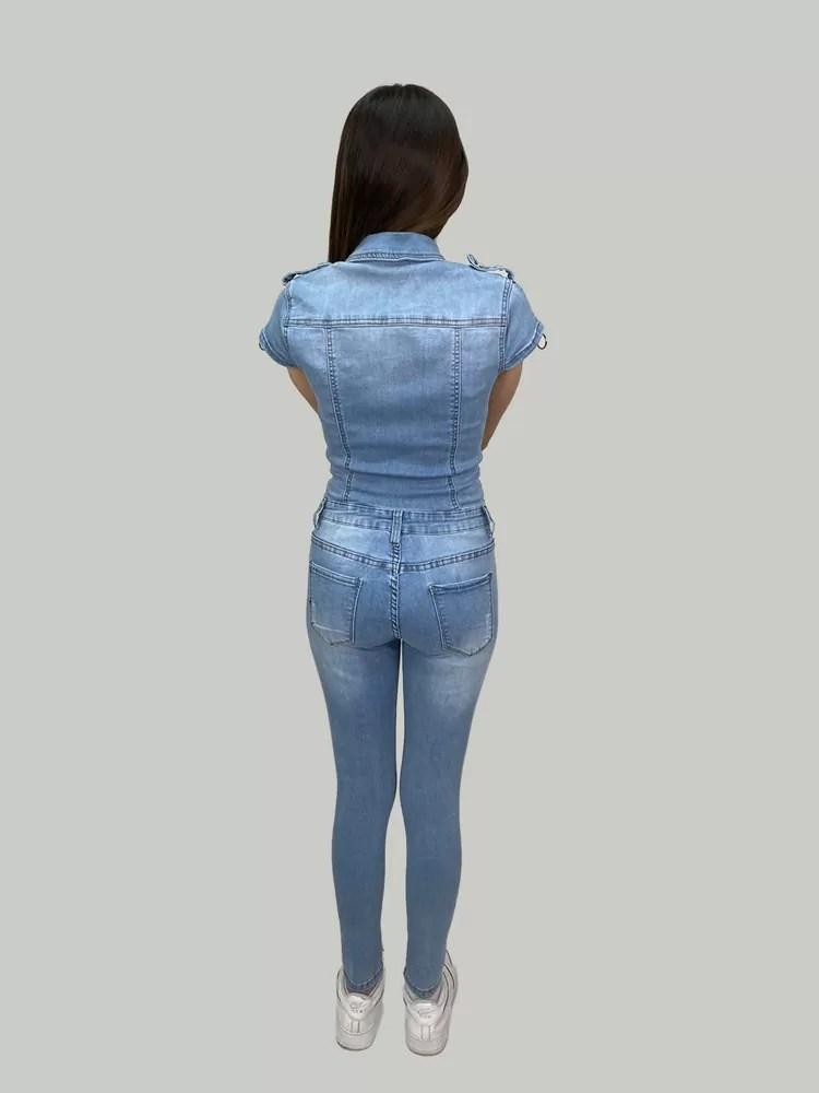 05 21 036 Blauw Spijker Jumpsuit Voor Dames