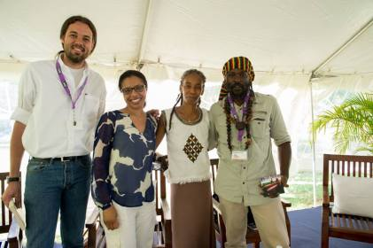 With Lauren Francis-Sharma, A-dZiko Simba and Ras Takura after our reading session