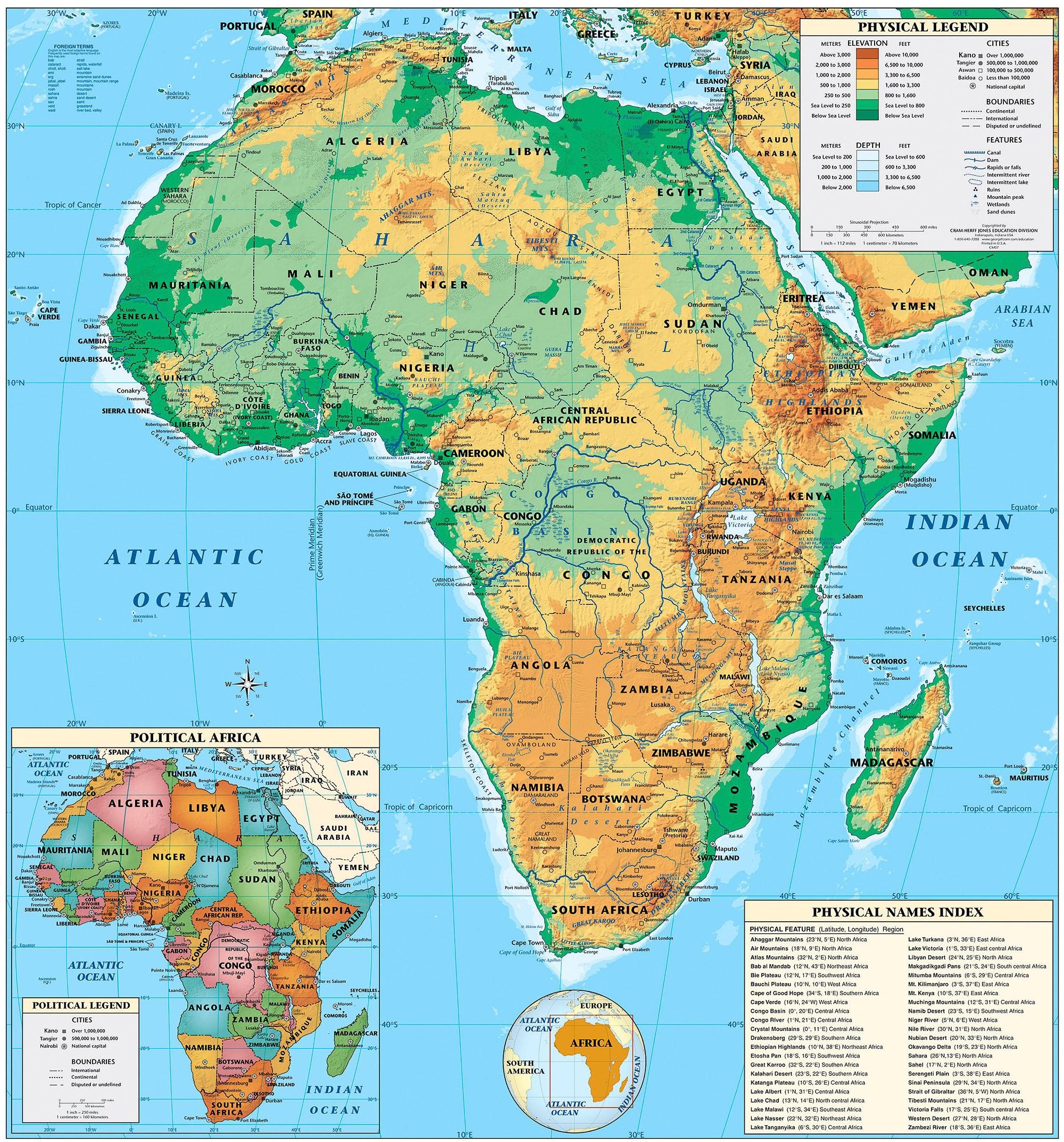 Kalahari Desert World Map States