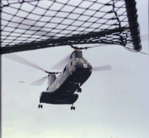 Helicopter approaching the ship