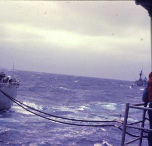 Refueling at sea.
