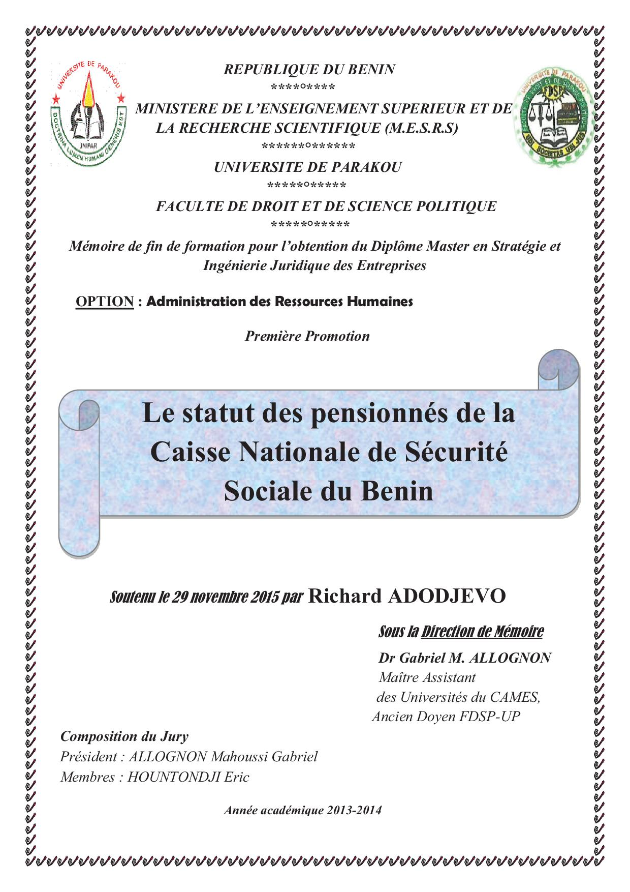 Le Statut Des Pensionnes De La Caisse Nationale De Securite Sociale
