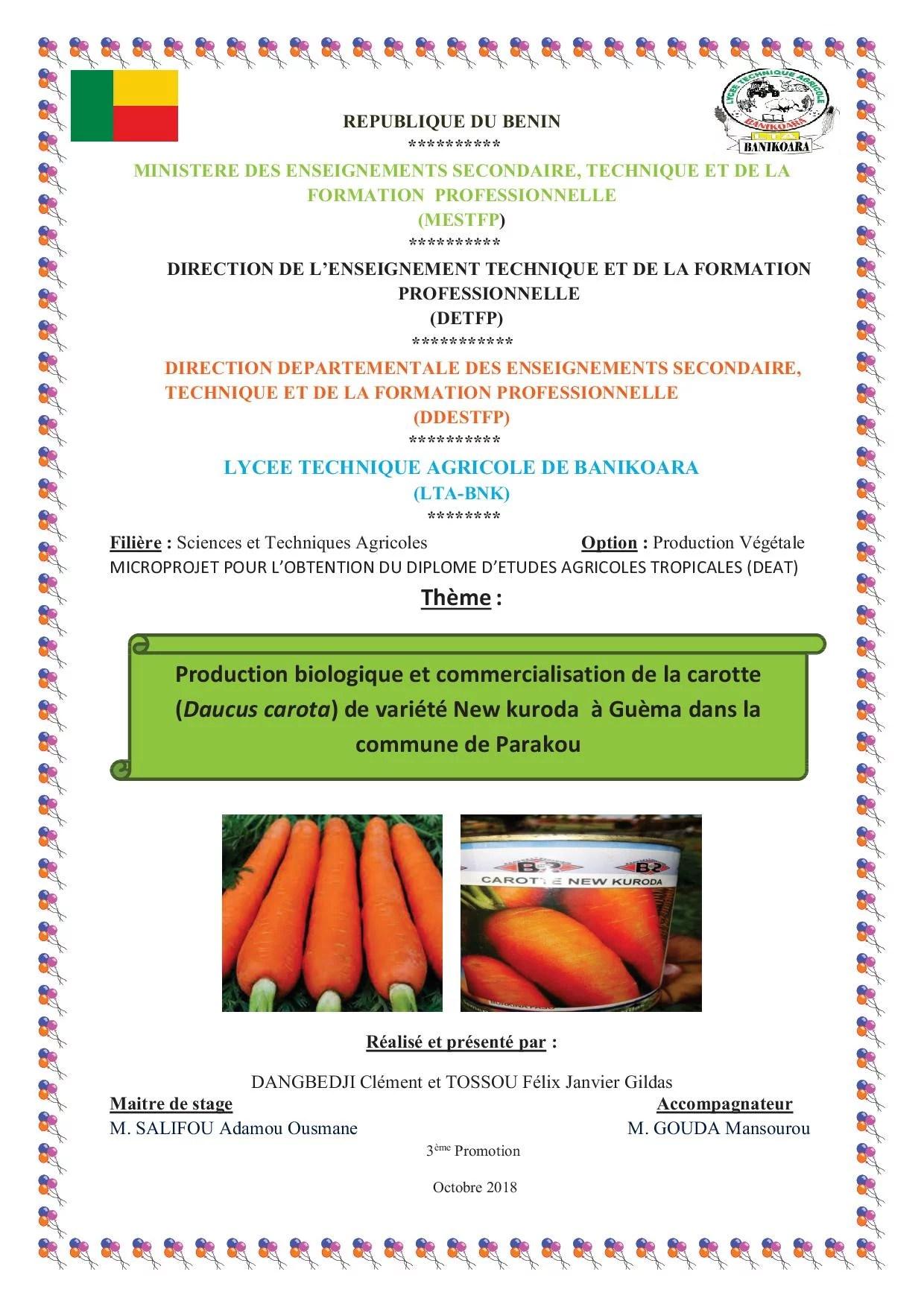 1d0d65a7ef2 Production biologique et commercialisation de la carotte (Daucus ...