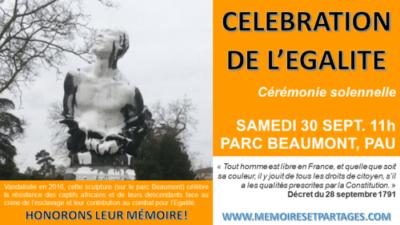 1er DÉCRET D'ÉGALITÉ RACIALE – célébration à PAU (29 et 30 septembre)