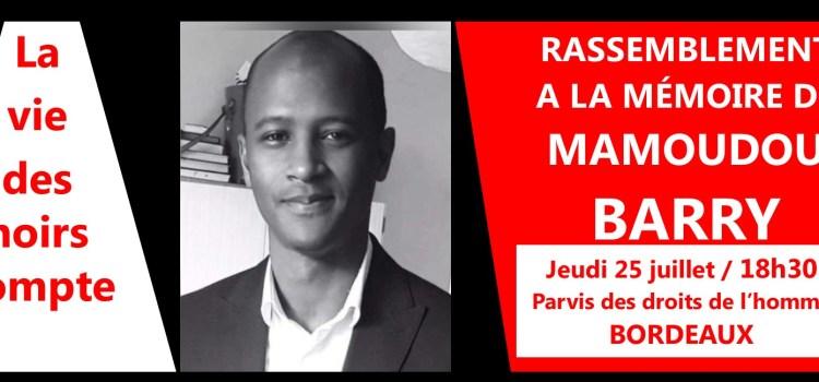 BORDEAUX – Un hommage à Mamoudou Barry ce jeudi 25 juillet à 18h30, Parvis des droits de l'homme