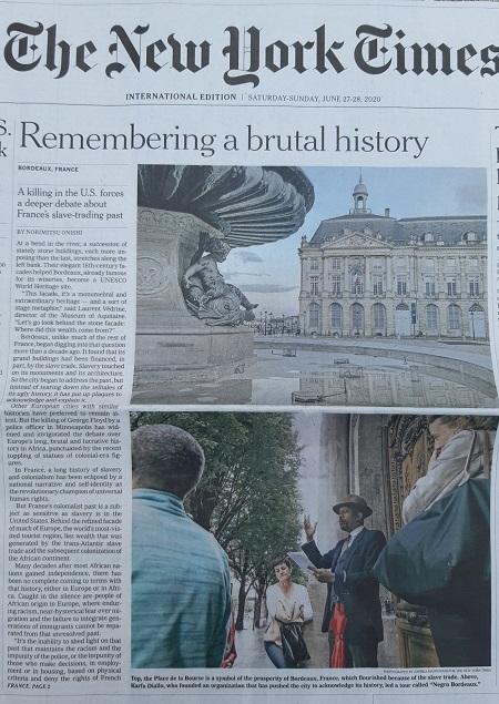 RACISME – Le New York Times fait sa Une sur notre engagement à Bordeaux (article complet)