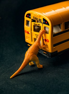 Artwork & Photography: Dinosaurs Attacks School Bus By Toni Bennett