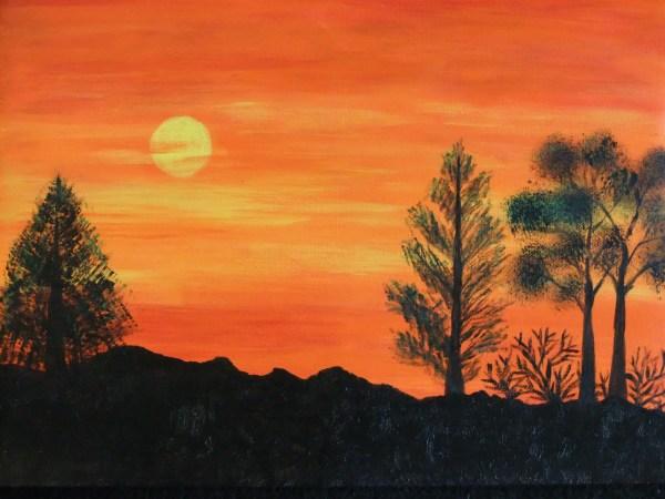 acrylics canvas landscape painting