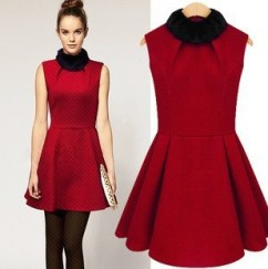 Free-Shipping-2013-Autumn-Winter-Quality-Branded-Christmas-Fur-Collar-Dress-Sleeveless-Woolen-Women-s-Pencil