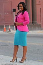 blue pencil skirt, pink blazer, plum tank top, curvy fashion blogger, curvy confidence, how to wear work clothes confidently, sexy office outfits
