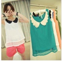 Free-shipping-Korean-Lace-Chiffon-shirt-collar-Blouse-Shirt-butterfly-sundress-White-Sleeveless-chiffon-shirt