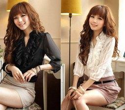 New-Womens-sweet-Chiffon-Frill-Collar-Tops-Shirt-Ladies-Fashion-Blouse-Free-Shipping