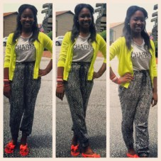 398-@prettypagieee-Black-and-grey-shirt-Forever-21Black-and-white-baggy-pants-Forever21Lime-green-cardigan-GapBracelets-HM-and-coral-bow-sandals-Express