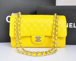 Mini-Classic-Double-Flap-Bag-Original-Caviar-Leather-Yellow-Silver-Hardware-A1112-1087