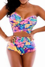 High-waisted-Strapless-Floral-Print-Bikini-Set-LC4256