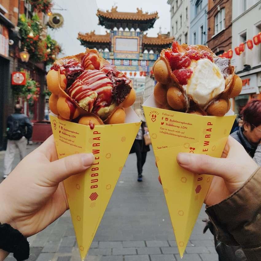 Insta Review: Bubblewrap Waffle , Chinatown London. Instagrammable food in London