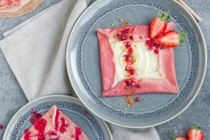 pink vegan pancake crepe recipe