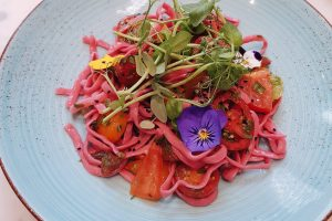 Pink ribbon pasta from EL&N Cafe, brompton rd, Chelsea. Instagrammable brunch in London. Vegetarian and vegan friendly