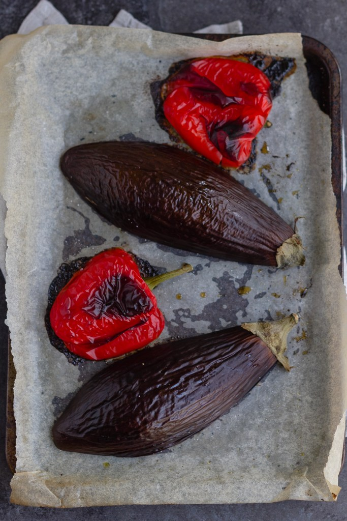 roasted red peppers and aubergine