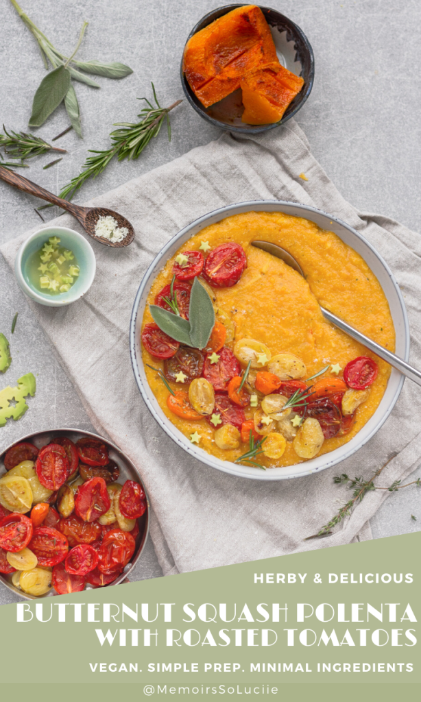 Herby Vegan Butternut Squash Polenta with Roasted Tomatoes and Avocado