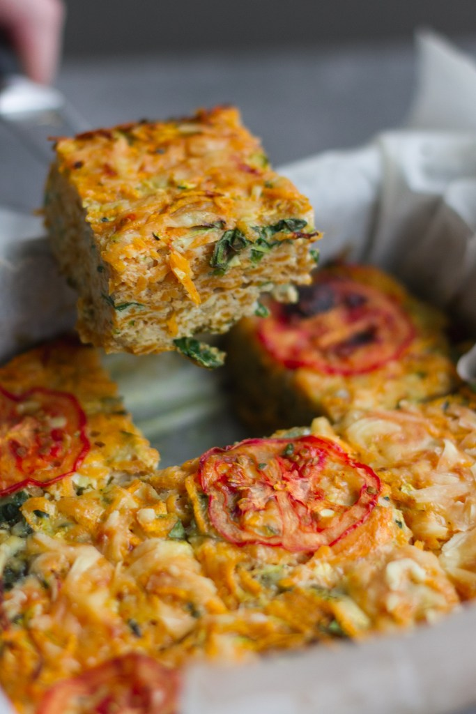 courgette, spinach and sweet potato egg casserole squares