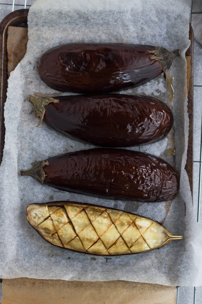 oven roasted eggplant on a tray