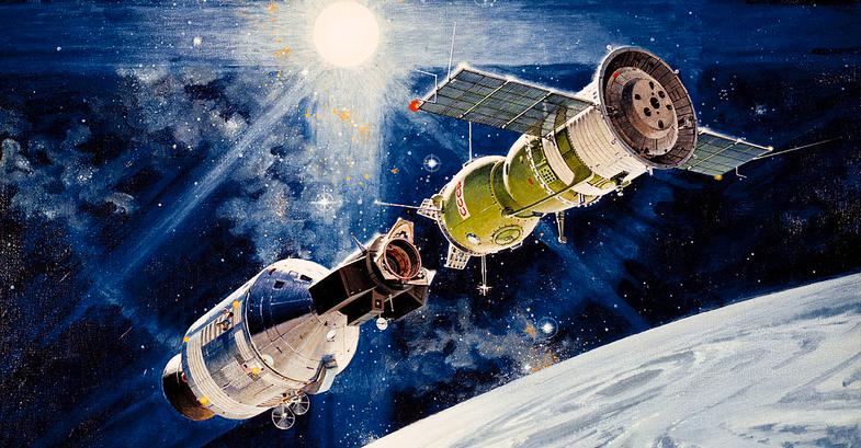 Apollo-Soyuz docking in Earth orbit