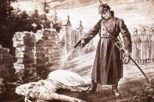 The nurse Cavell is being executed in Brussels
