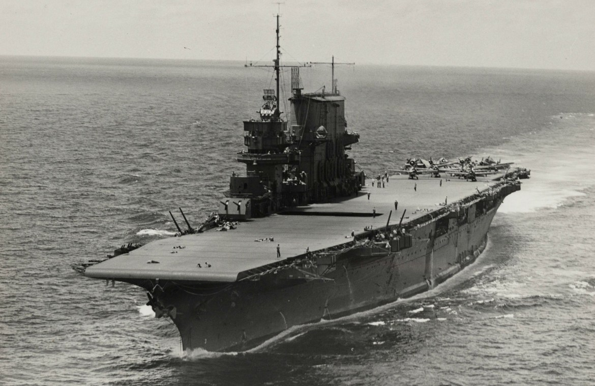 The USS Saratoga rests in Bikini Atoll
