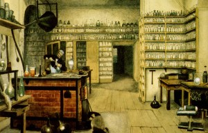 Michael Faraday – The actual laboratory of English scientist in London