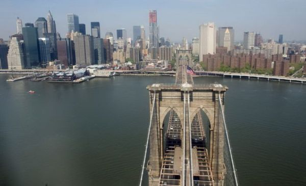 The Brooklyn Bridge, lower Manhattan and