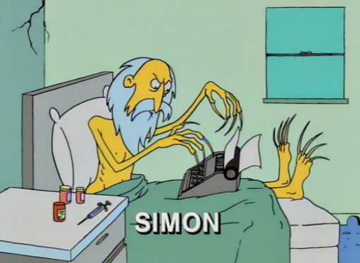 A caricature of Simon from a Halloween episode of The Simpsons.