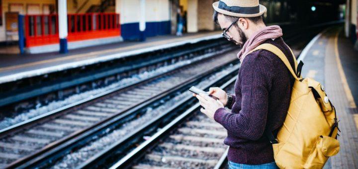 traveler waiting for train