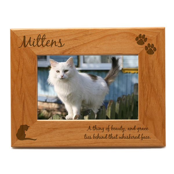 Star Themed Gift Personalized Cat 4x6 Photo Frame | Engraved Cat Picture Frame