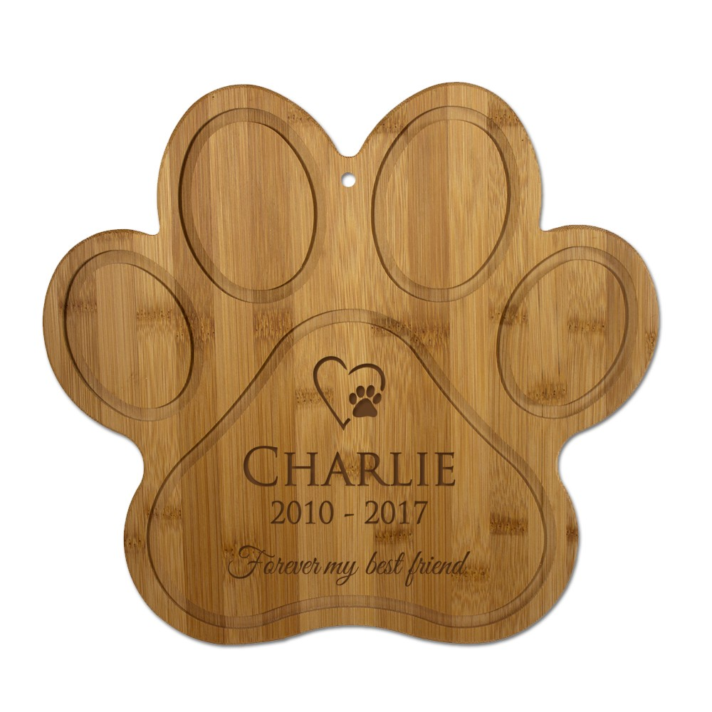 Star Themed Gift Personalized Paw Bamboo Pet Memorial Wall Plaque