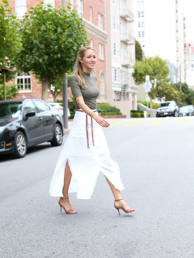 Theory Ivory Linen Maxi Skirt Olive Mock Neck Top