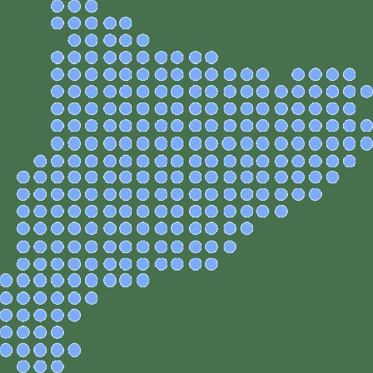 Mapa de catalunya fet amb punts blaus