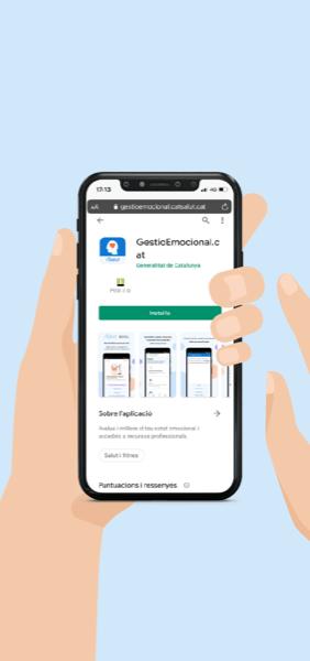 Mòvil amb la captura de la imatge de l'aplicació GestioEmocional.cat a la play store de Android