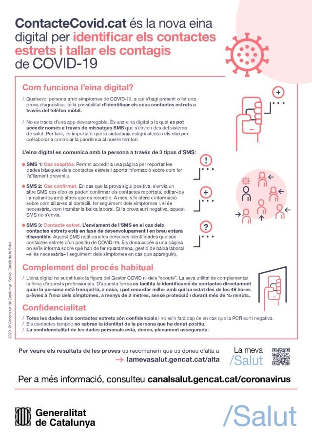 Cartell: ContacteCovid.cat és la nova eina digital per identificar els contactes estrets i tallar els contagis de COVID-19