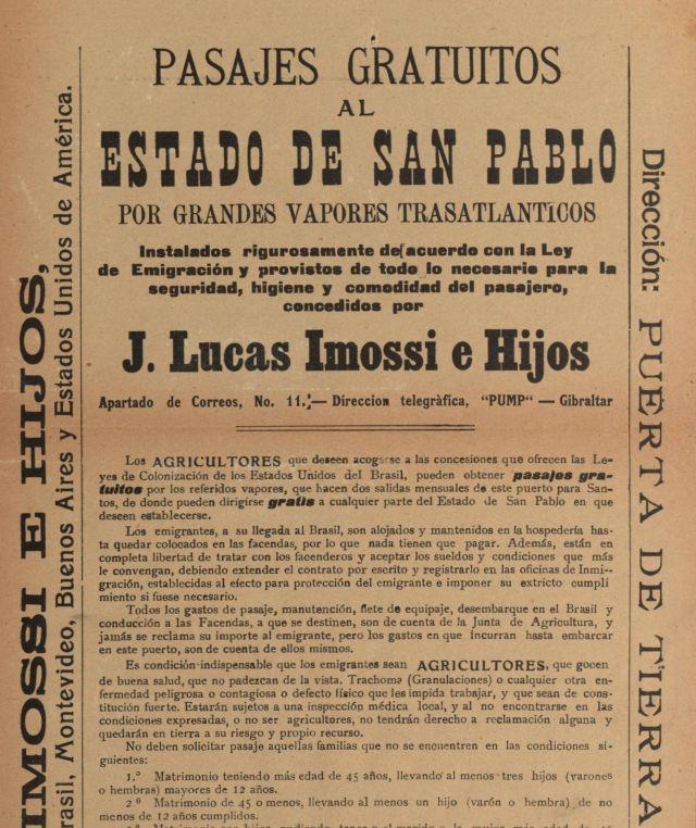 Imagen 2 Parte del cartel con instrucciones detalladas para obtener el pasaje gratuito a Brasil, de Lucas Imossi e Hijos (Pasajes gratuitos al Estado de San Pablo, s.f.)