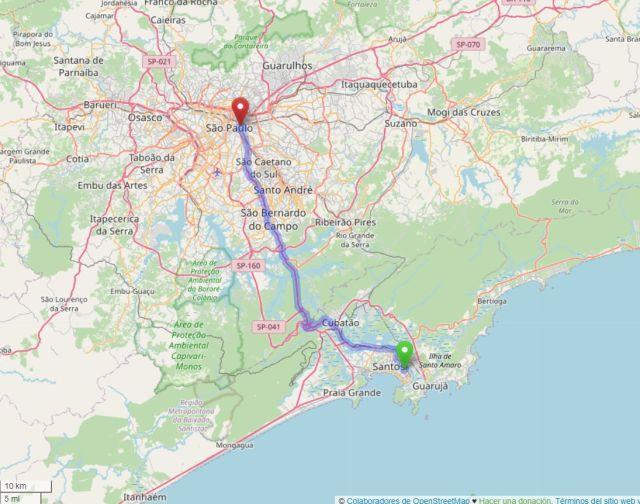 Imagen 6 Ruta actual por carretera entre el puerto de Santos y el edificio de la antigua Hospedaria de Inmigrantes en São Paulo, hoy Museo de la Inmigración. La distancia es de unos 75km. (OpenstreetMap)