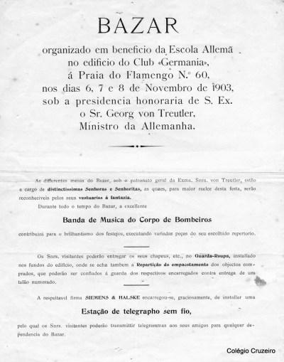1903 - Programação do Bazar realizado em benefício da Escola Allemã