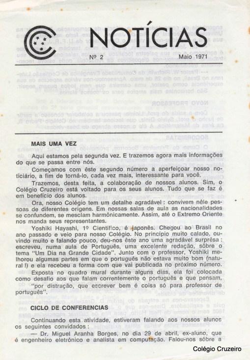 1971 - Segunda edição do boletim informativo Notícia