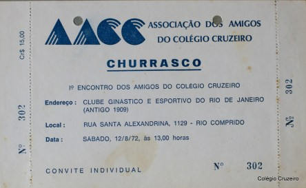 1972 - Convite para 1º Dia do Ex-aluno