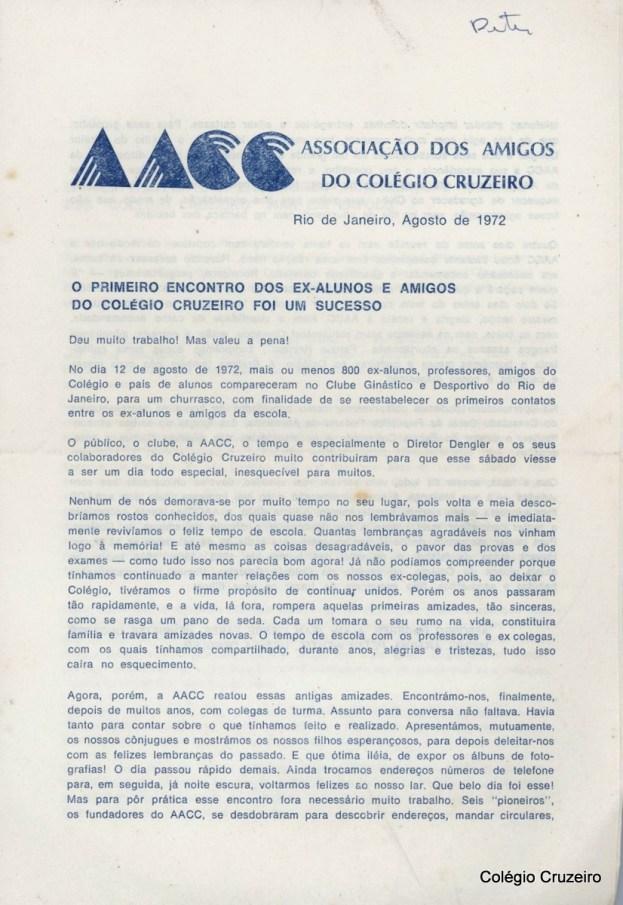 1972 - Jornal da associação dos amigos do Colégio Cruzeiro