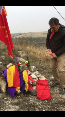 Homenaje a Kirill Tanev, brigadista búlgaro del batallón Dimitrov, muerto en Gajanejos en marzo de 1937. FMGU