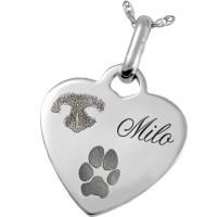 Sterling Silver Heart Pendant Nose & Paw Prints Pet